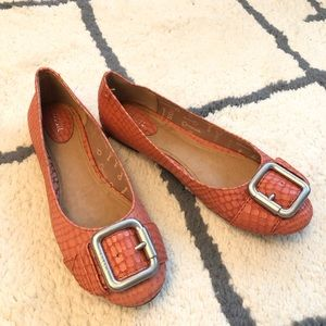 Fossil Ballet Flats Leather Embossed Buckle size 8